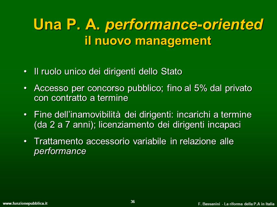 Una P. A. performance-oriented il nuovo management