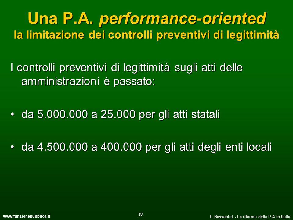 Una P.A. performance-oriented la limitazione dei controlli preventivi di legittimità