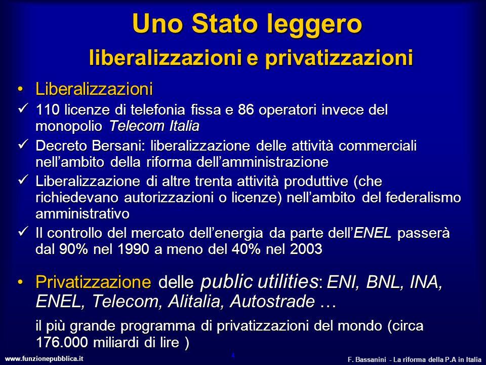 Uno Stato leggero liberalizzazioni e privatizzazioni