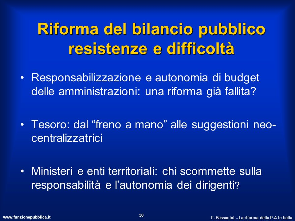 Riforma del bilancio pubblico resistenze e difficoltà
