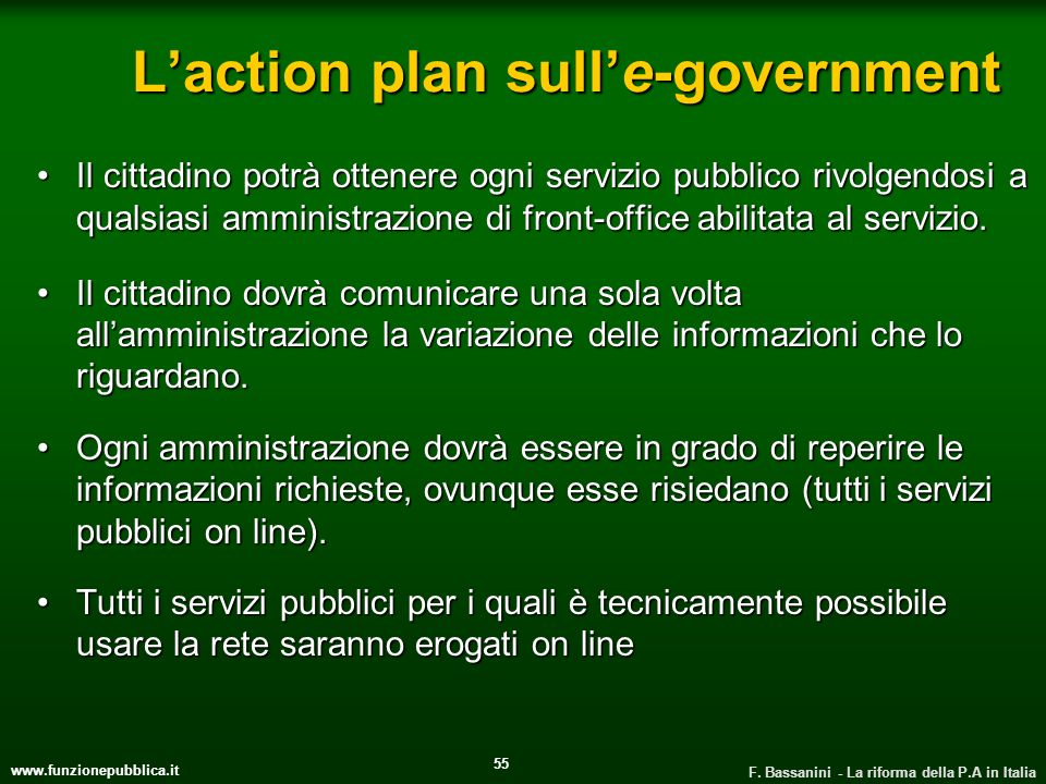 L'action plan sull'e-government