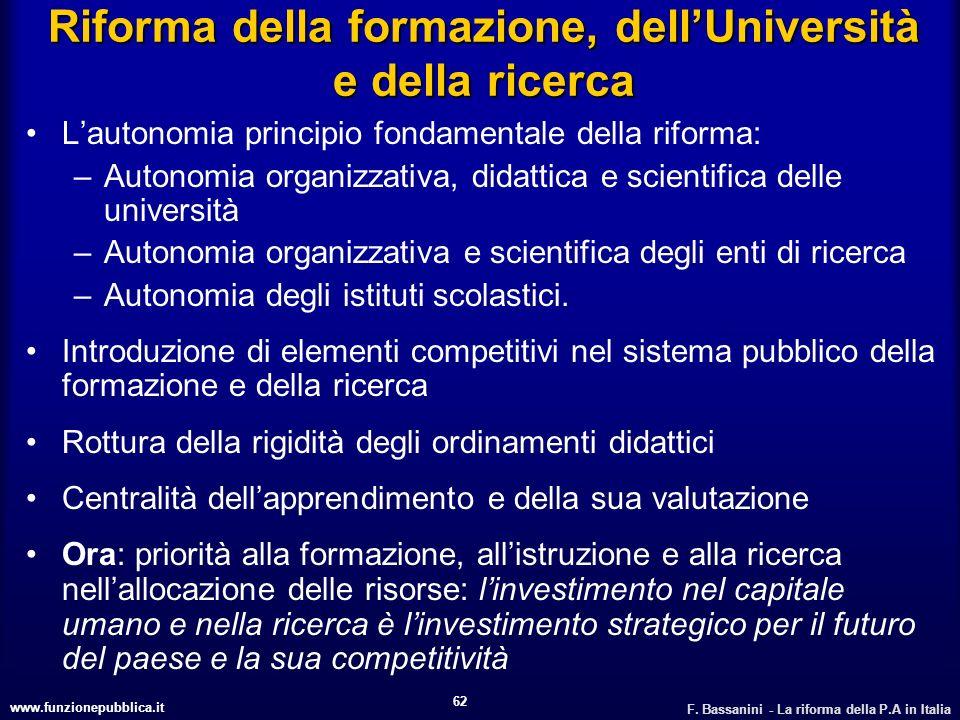 Riforma della formazione, dell'Università e della ricerca