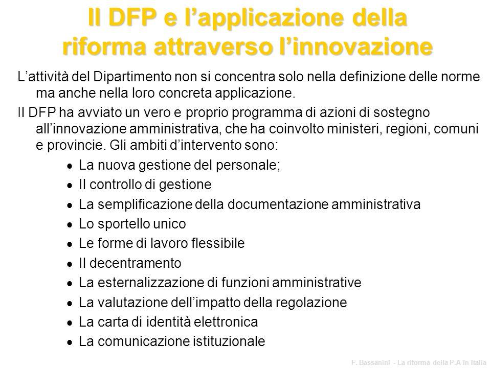 Il DFP e l'applicazione della riforma attraverso l'innovazione