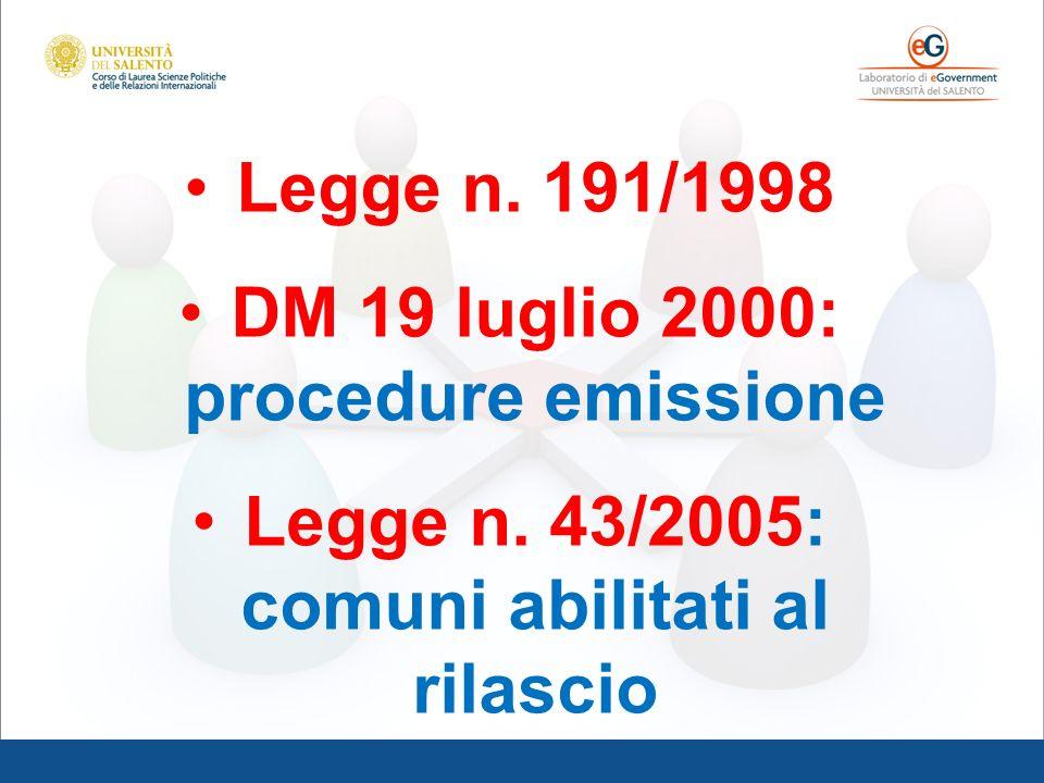 DM 19 luglio 2000: procedure emissione