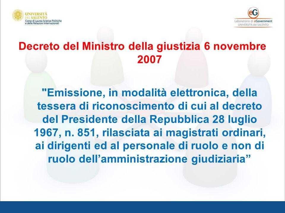 Decreto del Ministro della giustizia 6 novembre 2007