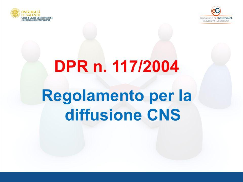 Regolamento per la diffusione CNS