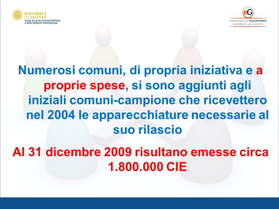 Al 31 dicembre 2009 risultano emesse circa 1.800.000 CIE