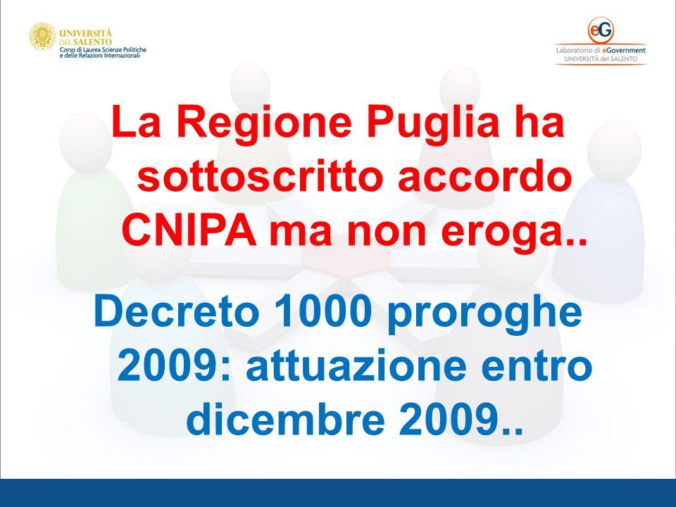 La Regione Puglia ha sottoscritto accordo CNIPA ma non eroga..