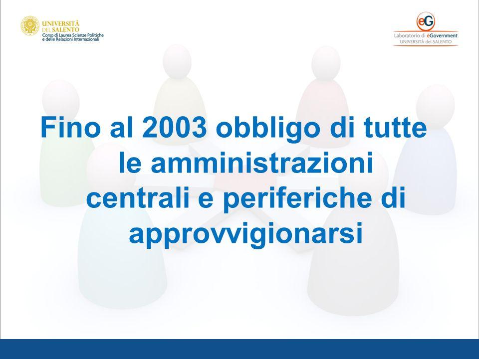 Fino al 2003 obbligo di tutte le amministrazioni centrali e periferiche di approvvigionarsi