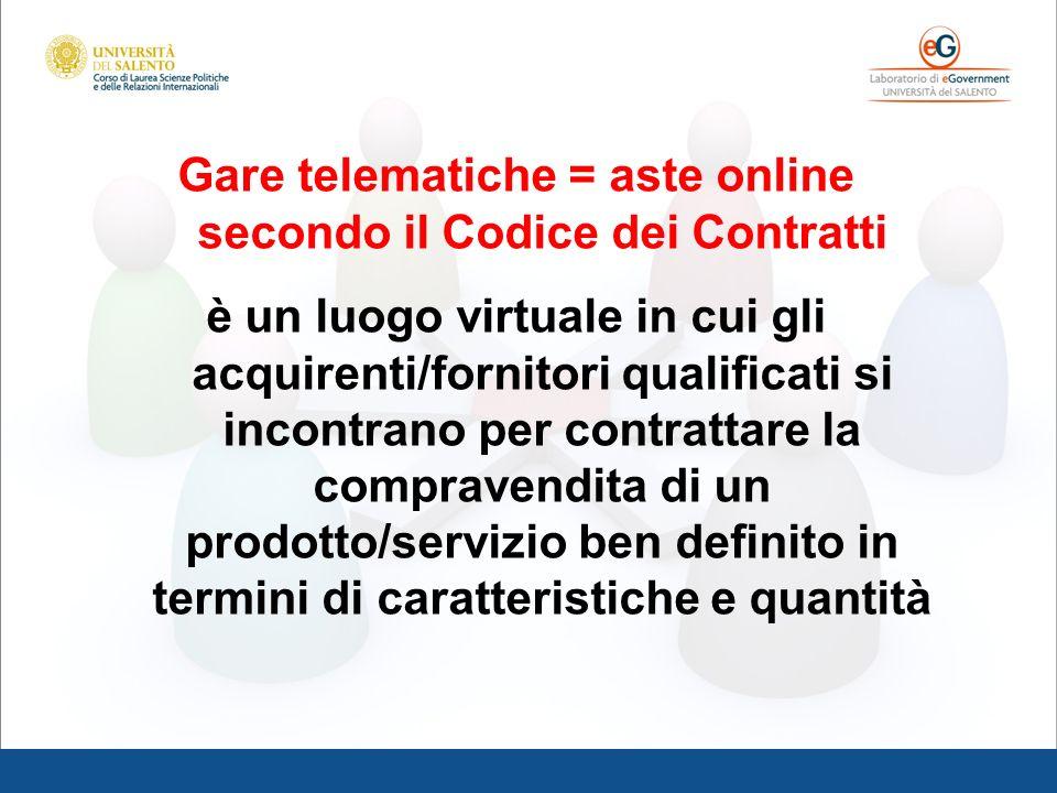 Gare telematiche = aste online secondo il Codice dei Contratti