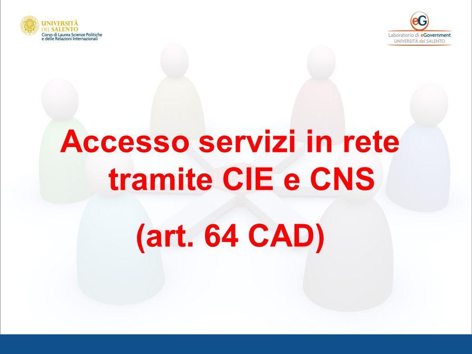 Accesso servizi in rete tramite CIE e CNS