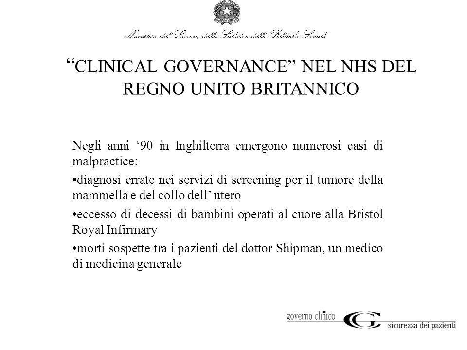 CLINICAL GOVERNANCE NEL NHS DEL REGNO UNITO BRITANNICO