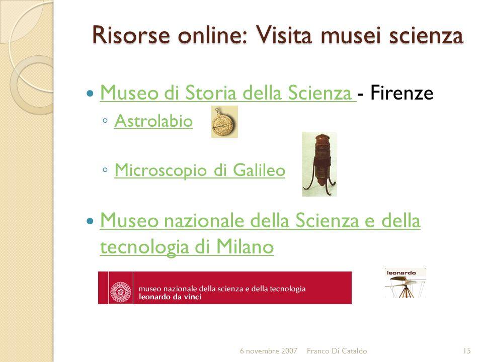 Risorse online: Visita musei scienza