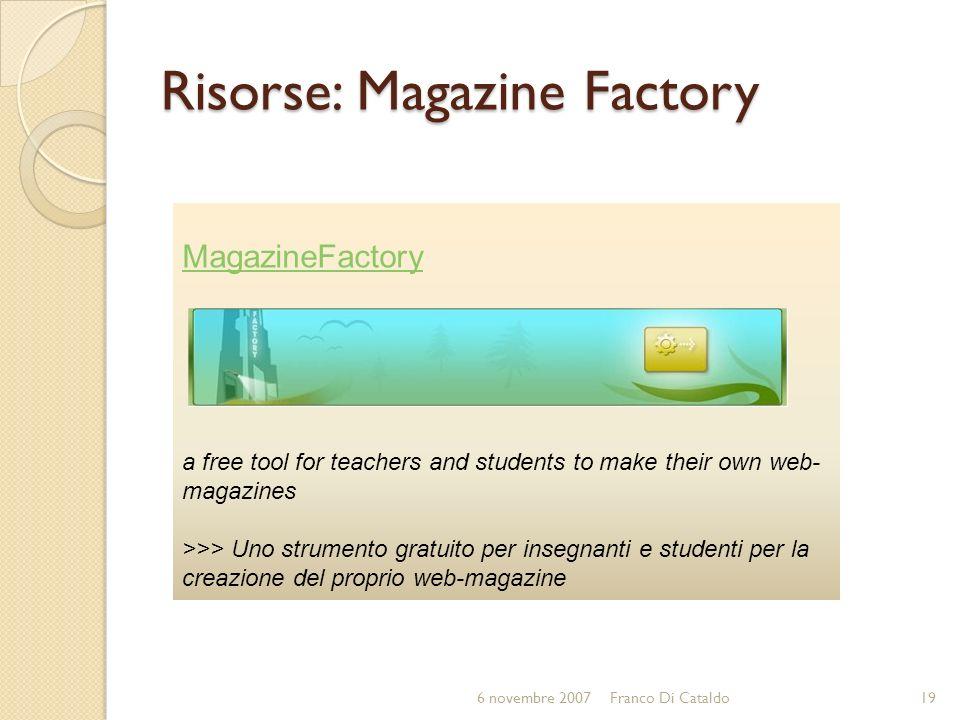 Risorse: Magazine Factory
