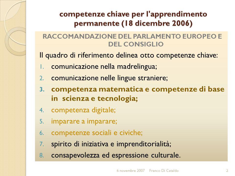 competenze chiave per l apprendimento permanente (18 dicembre 2006)