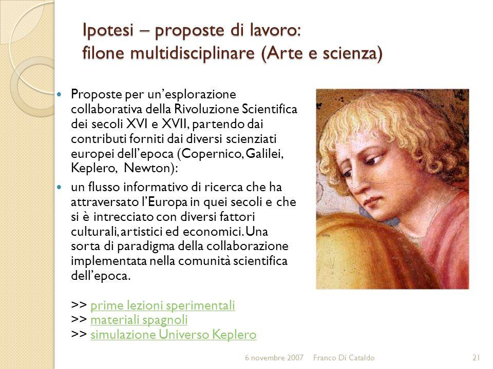 Ipotesi – proposte di lavoro: filone multidisciplinare (Arte e scienza)