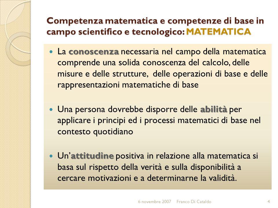 Competenza matematica e competenze di base in campo scientifico e tecnologico: MATEMATICA