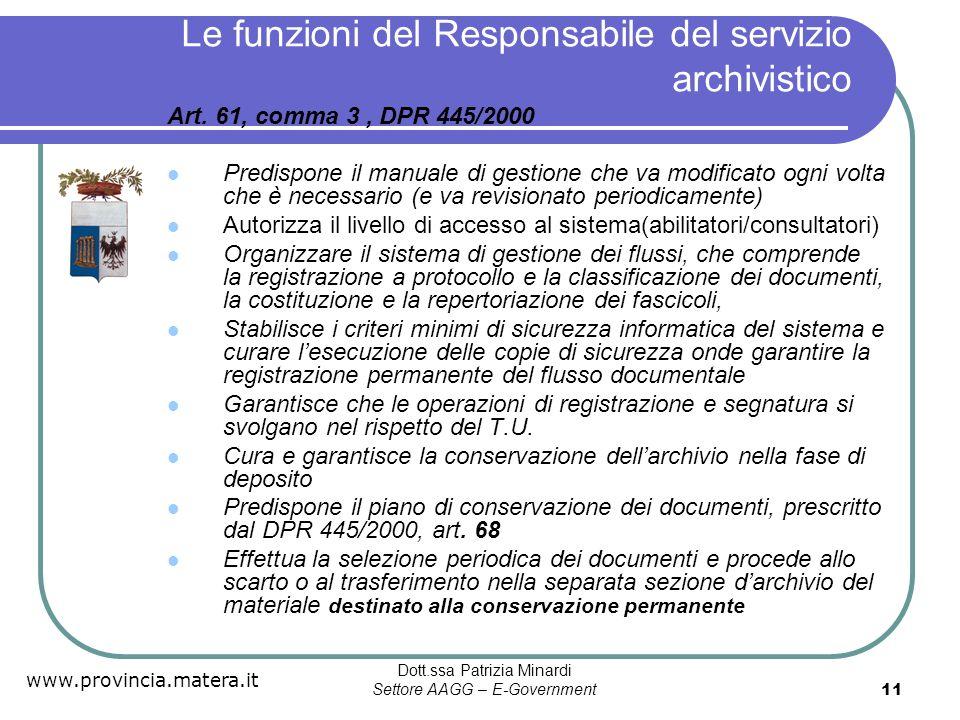 Le funzioni del Responsabile del servizio archivistico