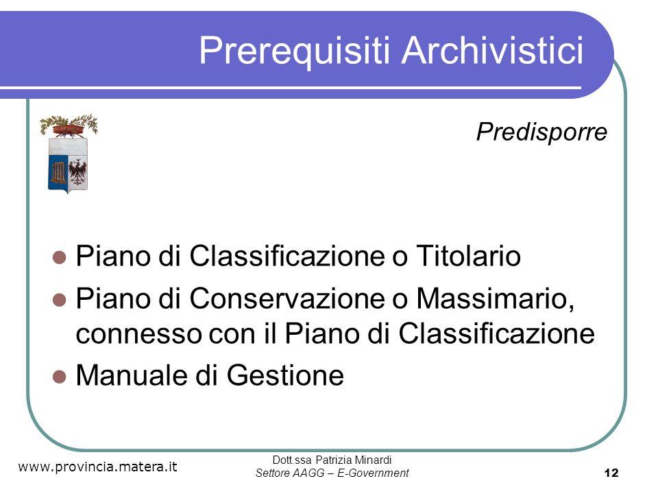 Prerequisiti Archivistici