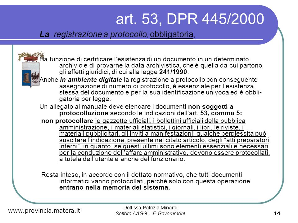 Dott.ssa Patrizia Minardi Settore AAGG – E-Government