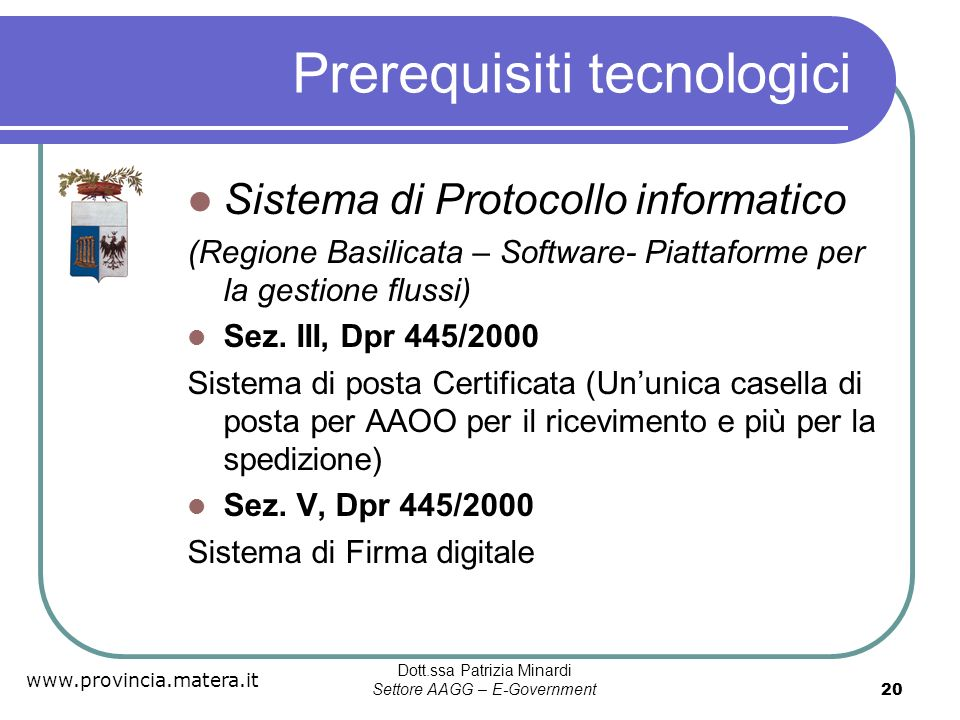 Prerequisiti tecnologici
