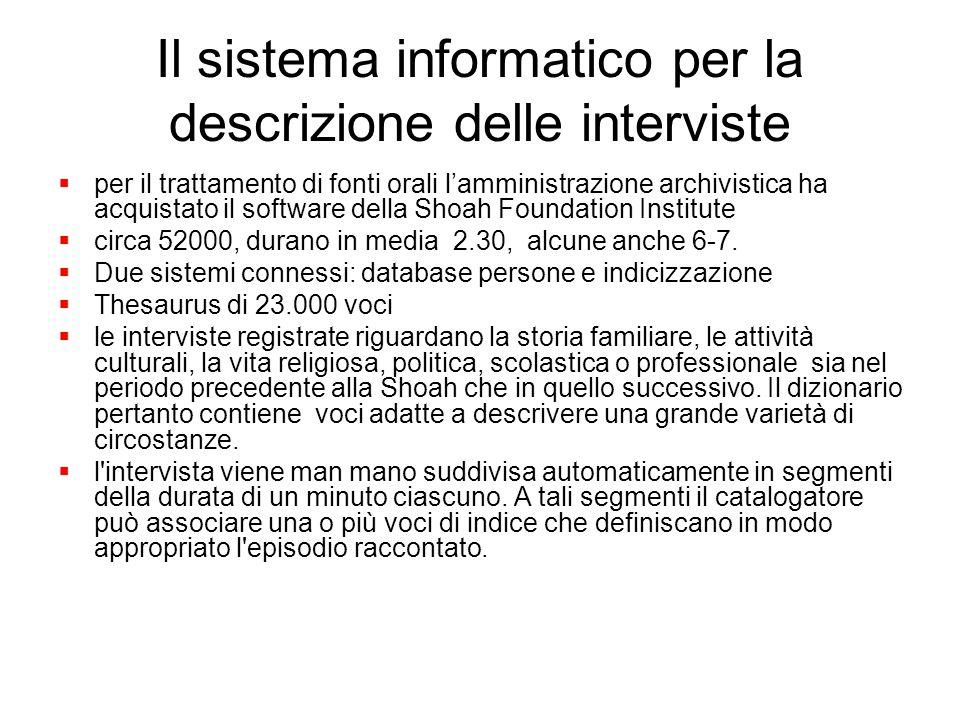 Il sistema informatico per la descrizione delle interviste