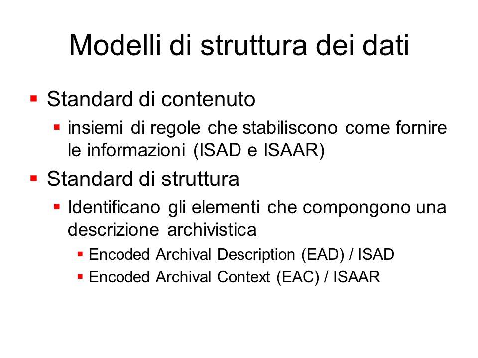 Modelli di struttura dei dati