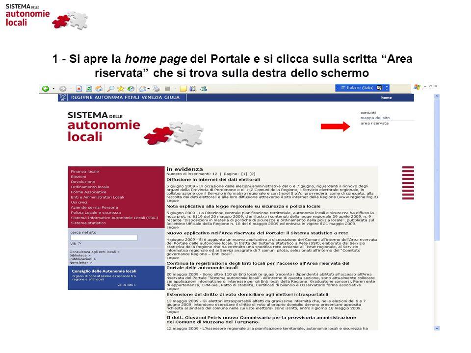 1 - Si apre la home page del Portale e si clicca sulla scritta Area riservata che si trova sulla destra dello schermo