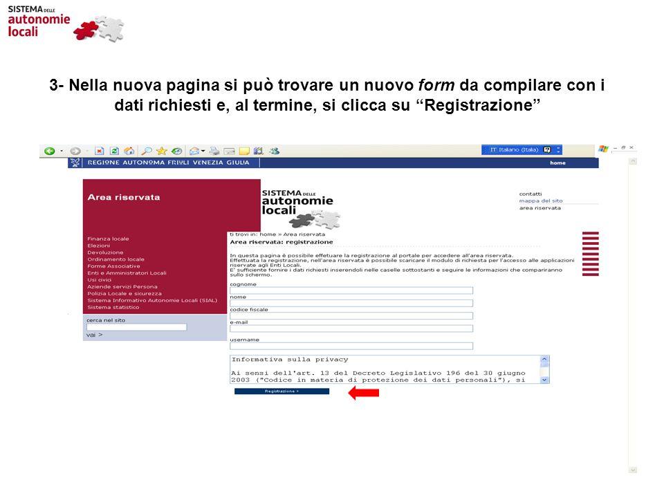 3- Nella nuova pagina si può trovare un nuovo form da compilare con i dati richiesti e, al termine, si clicca su Registrazione