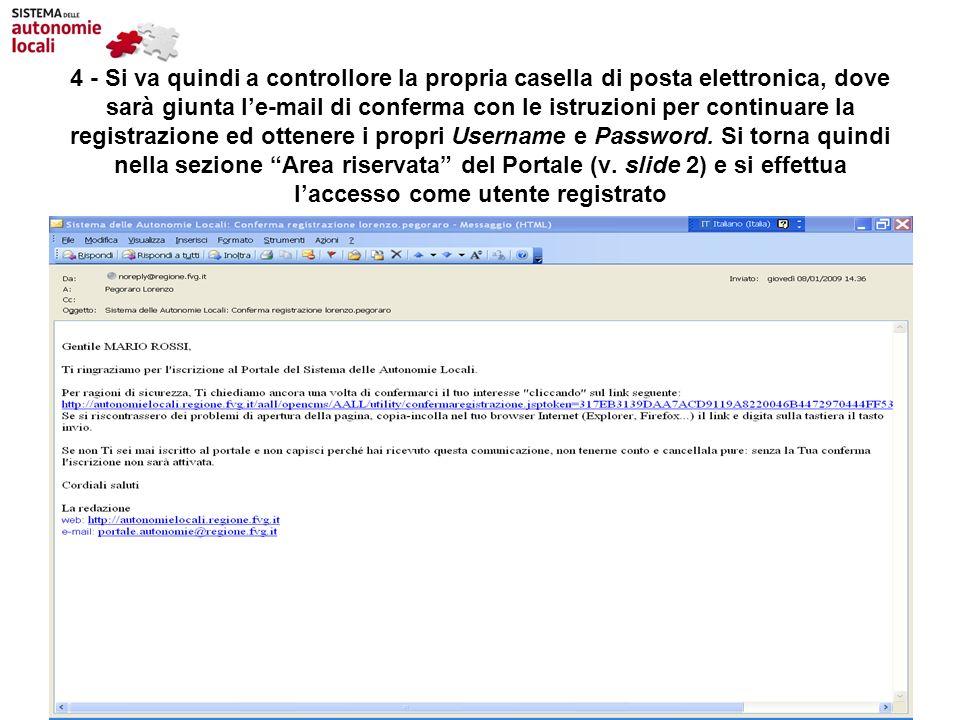 4 - Si va quindi a controllore la propria casella di posta elettronica, dove sarà giunta l'e-mail di conferma con le istruzioni per continuare la registrazione ed ottenere i propri Username e Password.