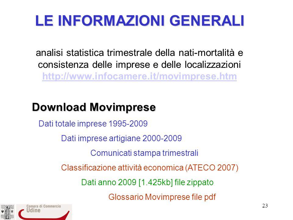 LE INFORMAZIONI GENERALI analisi statistica trimestrale della nati-mortalità e consistenza delle imprese e delle localizzazioni http://www.infocamere.it/movimprese.htm