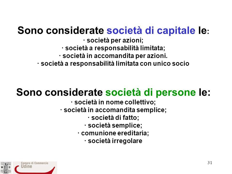 Sono considerate società di capitale le: · società per azioni; · società a responsabilità limitata; · società in accomandita per azioni.