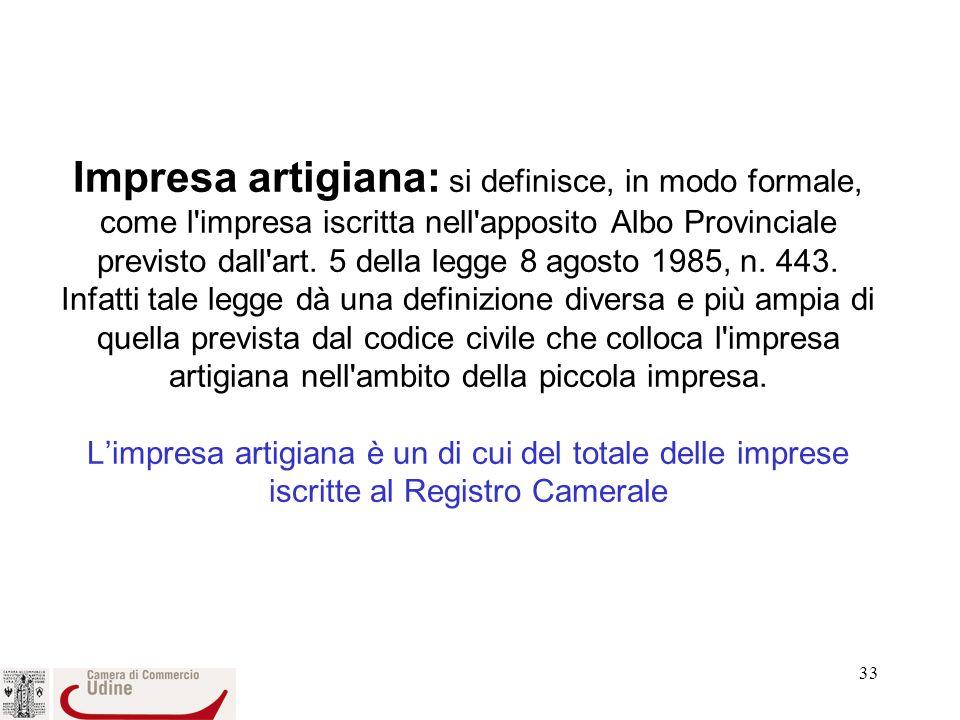 Impresa artigiana: si definisce, in modo formale, come l impresa iscritta nell apposito Albo Provinciale previsto dall art.