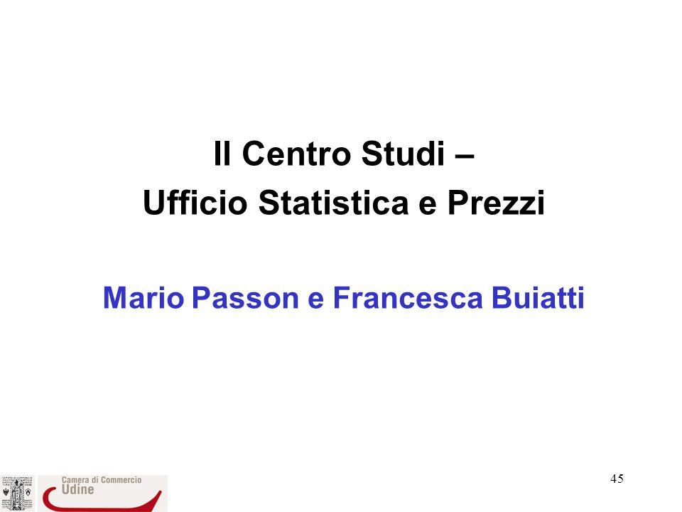 Ufficio Statistica e Prezzi Mario Passon e Francesca Buiatti