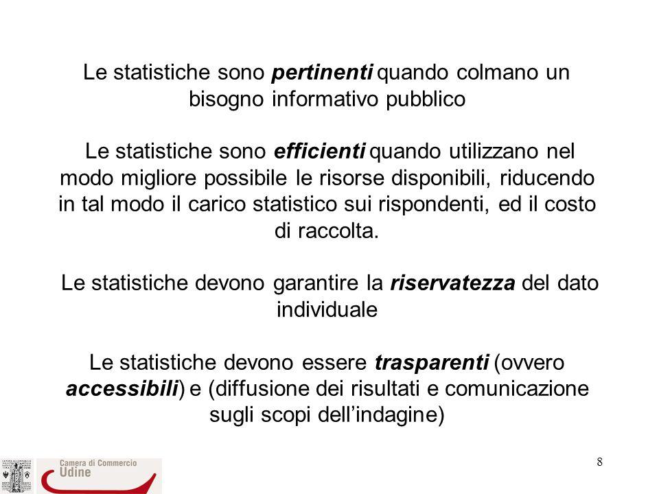 Le statistiche sono pertinenti quando colmano un bisogno informativo pubblico Le statistiche sono efficienti quando utilizzano nel modo migliore possibile le risorse disponibili, riducendo in tal modo il carico statistico sui rispondenti, ed il costo di raccolta.
