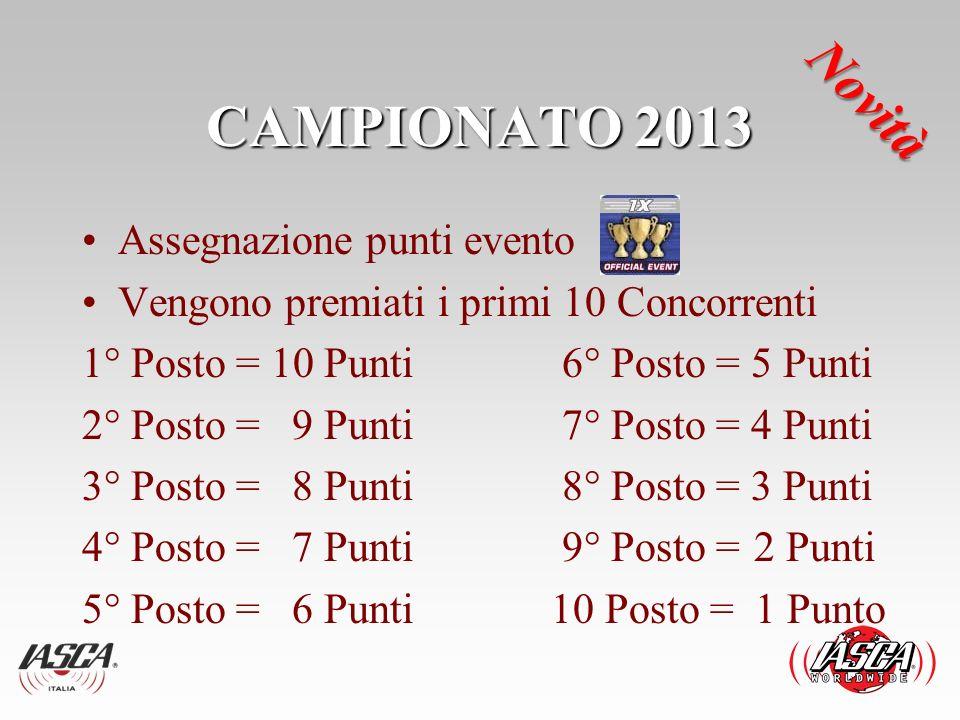 CAMPIONATO 2013 Novità Assegnazione punti evento