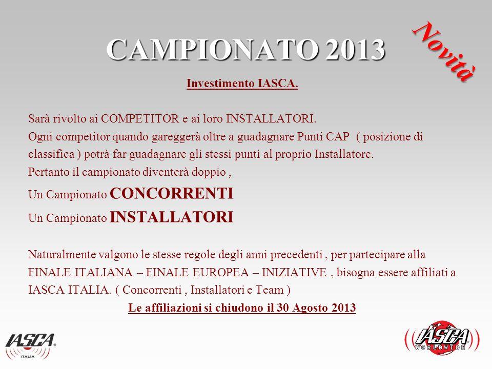 CAMPIONATO 2013 Novità.