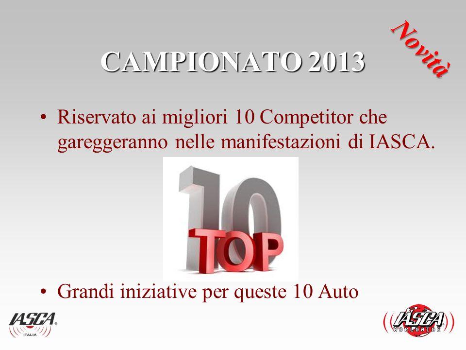 CAMPIONATO 2013 Novità. Riservato ai migliori 10 Competitor che gareggeranno nelle manifestazioni di IASCA.