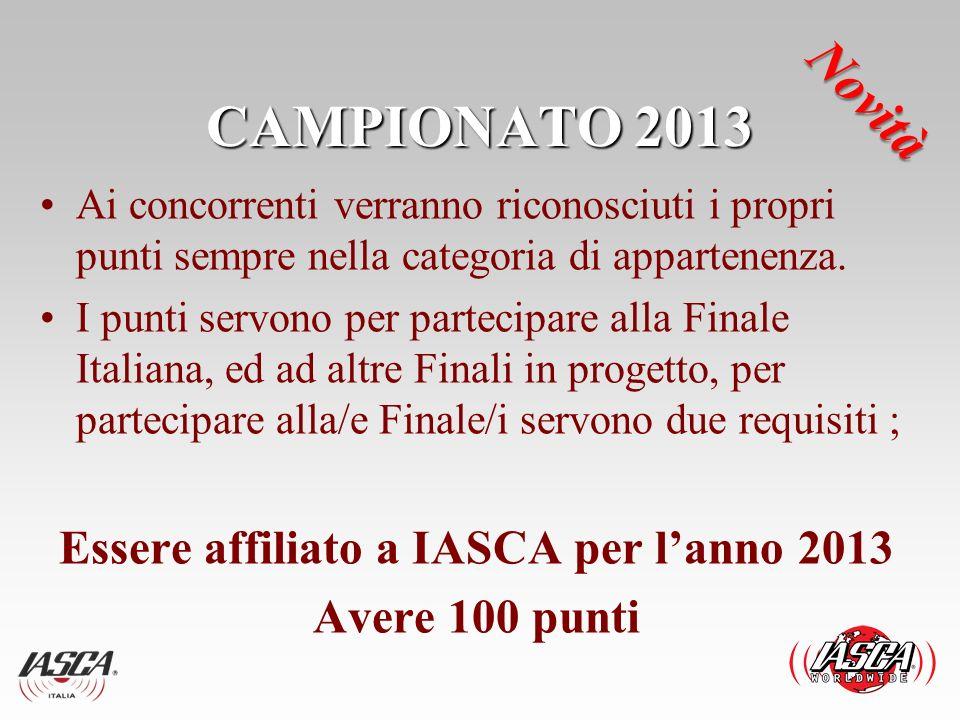 Essere affiliato a IASCA per l'anno 2013