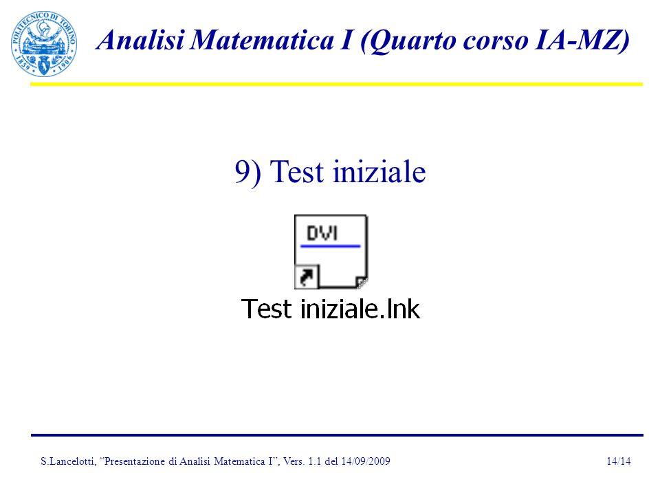 Presentazione dell insegnamento di Analisi Matematica I (Quarto corso, IA-MZ)