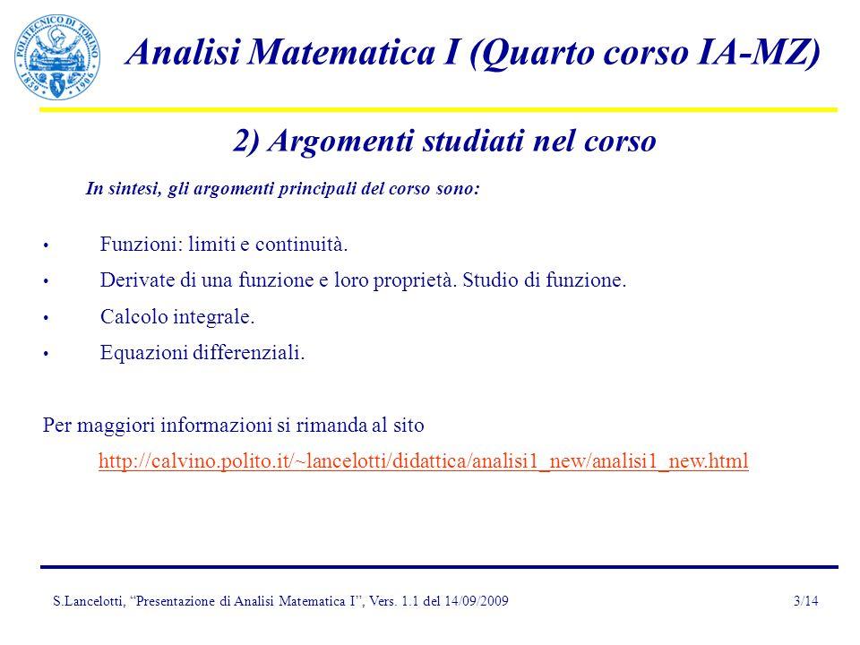 2) Argomenti studiati nel corso