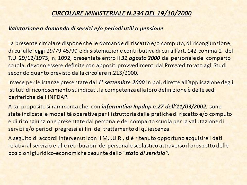 CIRCOLARE MINISTERIALE N.234 DEL 19/10/2000