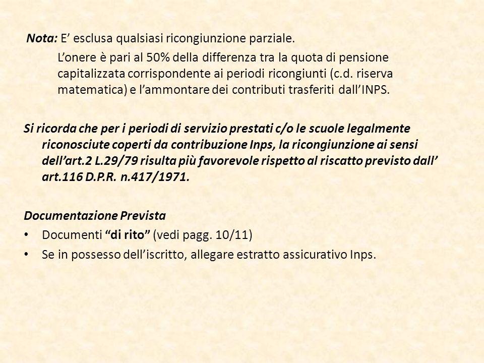 Documentazione Prevista Documenti di rito (vedi pagg. 10/11)
