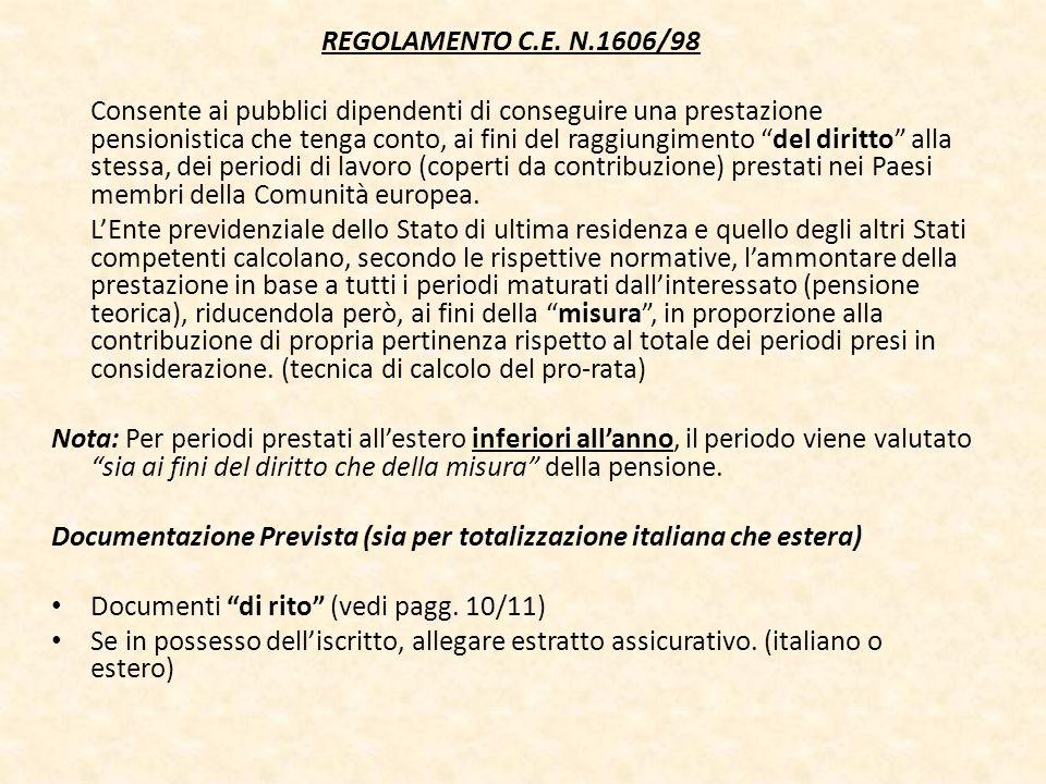 REGOLAMENTO C.E. N.1606/98