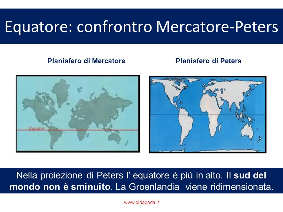 Equatore: confrontro Mercatore-Peters