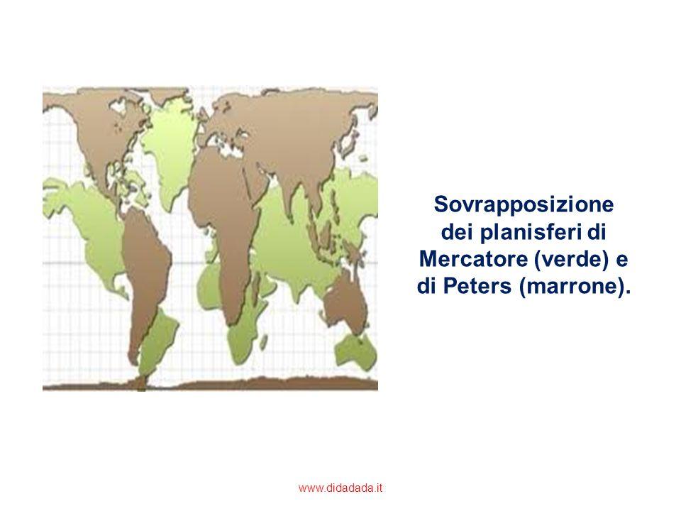 Sovrapposizione dei planisferi di Mercatore (verde) e di Peters (marrone).