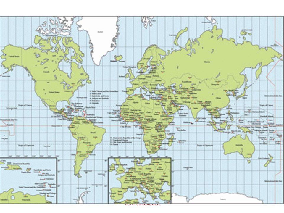Le rappresentazioni della terra più usate sono dunque non i mappamondi ma i planisferi: nel planisfero le superfici sferiche vengono proiettate su un piano, diventano piane.
