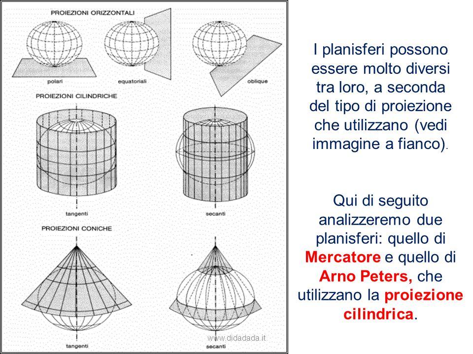 I planisferi possono essere molto diversi tra loro, a seconda del tipo di proiezione che utilizzano (vedi immagine a fianco).