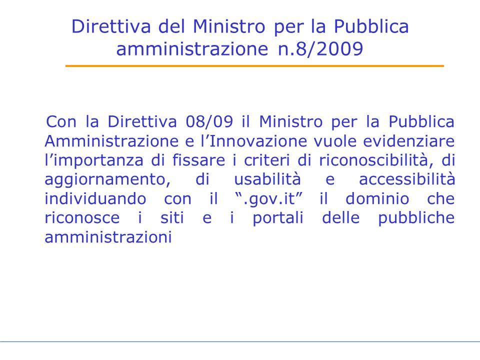 Direttiva del Ministro per la Pubblica amministrazione n.8/2009