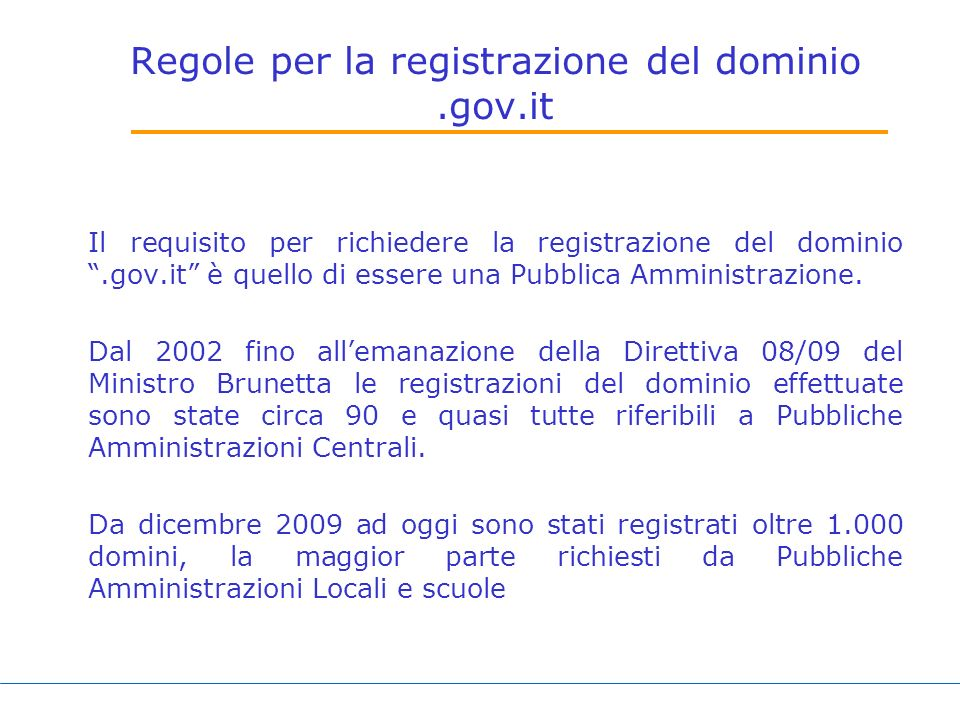 Regole per la registrazione del dominio .gov.it